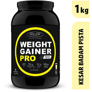 Sinew Nutrition Weight Gainer Pro with Digestive Enzymes (1 kg, Kesar Badam Pista)