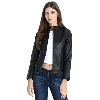 Black Faux Leather Biker Jacket by Raabta Fashion