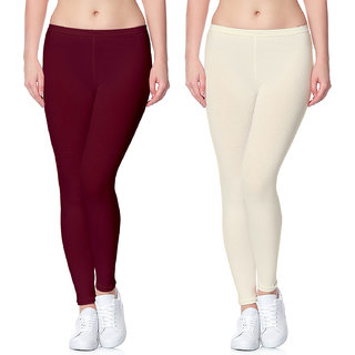 Lili Ultra Super Soft 220 GSM Stretch Bio Wash Ankle Length Leggings Regular Sizes 20 Plus Solid Colors Pack of 2