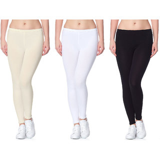 b131f64836f02 Buy Lili Ultra Super Soft 220 GSM Stretch Bio Wash Ankle Length Leggings  Regular Sizes 20 Plus Solid Colors Pack of 3 Online - Get 46% Off
