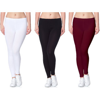 Lili Ultra Super Soft 220 GSM Stretch Bio Wash Ankle Length Leggings Regular Sizes 20 Plus Solid Colors Pack of 3