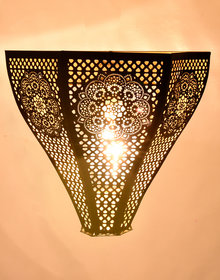 Wall Lamp / Light Moraccan Design Vintage Iron Black with Gold Texture  Pack Of 1  B22 Holder By AH