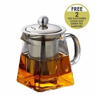 Octavius Pyramid Borosilicate Glass Teapot with Stainless Steal Infuser 720 ml (Now with 2 Free Tea Samples)