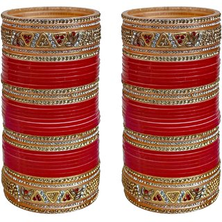 Lucky Jewellery Red Designer Chura Bridal Wedding Punjabi Choora Fashion Jewellery Chuda Set (578-M1C1-740-R)