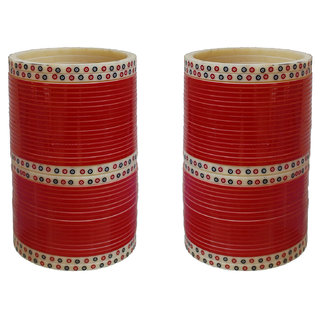 Lucky Jewellery Red Designer Chura Bridal Wedding Punjabi Choora Fashion Jewellery Chuda Set (726-Q1C1-890-R)