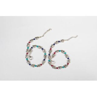 Skycandle Ethnic Oxidised Silver Ethnic Anklet for Girls and Women