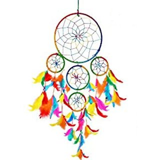 Kartik Dream Catcher Wall Hanging Handmade Beaded Circular Net Decoration Ornament Multi Color Dia 6 inch/Long 20 inch