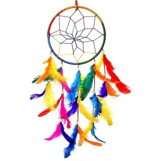 Kartik Dream Catcher Wall Hanging, Large Multi Color Dia 8 inch/Long 24 inch