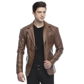 Lambency Men's Brown  Slim Fit Jackets
