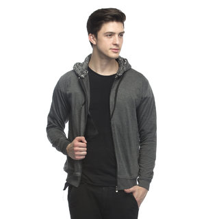 Lambency Men's Grey Hooded Sweatshirt