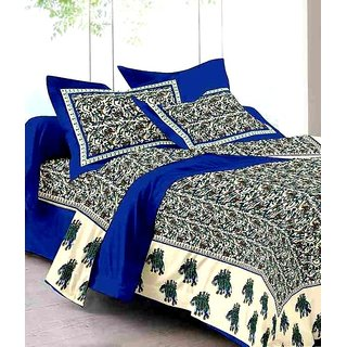 UniqChoice 100% Cotton Blue traditional Printed King Size Double bedsheet With 2 Pillow Cover