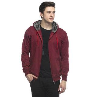 Lambency Men's Maroon Hooded Sweatshirt