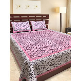 UniqChoice Pink Cotton Double Bedsheet With 2 Pillow Covers