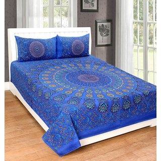 UniqChoice 100% Cotton traditional Printed Double bedsheet With 2 Pillow Cover