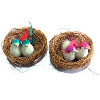 Nawani 2 Pic Coir Craft Table Decor Hanging Bird Nest Size- 9x9x3