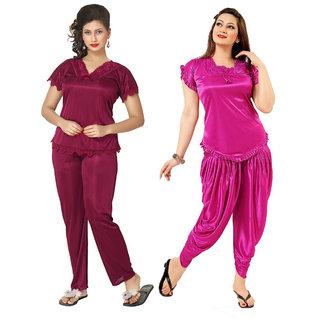 Rowena Women's Solid Satin Top & Pyjama Set Maroon , Pink