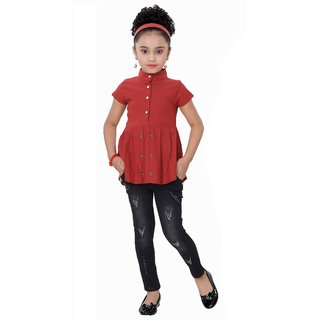 Arshia Fashions Girls Party Wear Top And Jeans Set