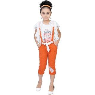 Arshia Fashions Girls Party Wear Top And Capri Set