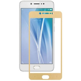 Tempered Glass For Vivo V5 Full Screen Golden Colour Standard Quality