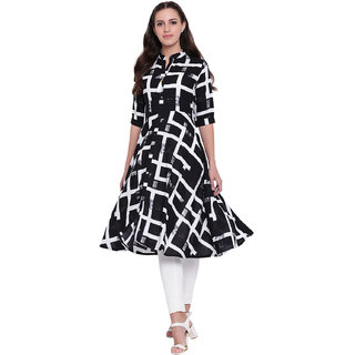 Pinky Pari Fit  Flare Rayon Printed Midi Dress