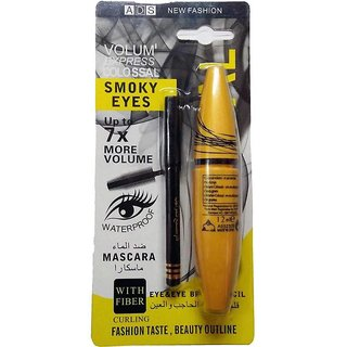 ADS Eyes Mascara + Free Eyebrow Pencil 12 ml (BLACK)