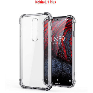 NOKIA 6.1 PLUS - Anti-Knock Design Shock Absorbent Bumper Corners Soft Silicone Transparent Back Cover- Nokia 6.1 Plus