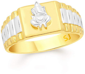 Sukai Jewels Ganesh Gold Plated Alloy & Brass Cubic Zirconia Finger Ring for Men [SFR316G]