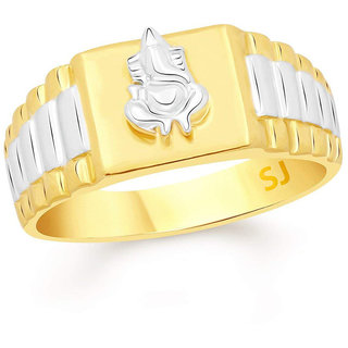 Sukai Jewels Ganesh Gold Plated Alloy  Brass Cubic Zirconia Finger Ring for Men SFR316G