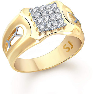 Sukai Jewels Center Culster Solitaire Gold Plated Alloy  Brass Cubic Zirconia Finger Ring for Men SFR330G