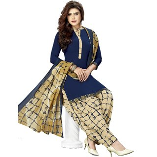 Drapes Women's Navy Blue Crepe printed Patiyala Dress Material (Unstitched)