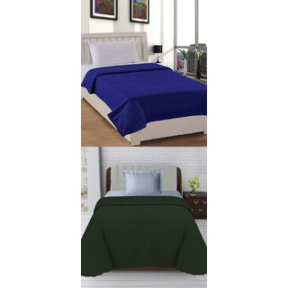 SHAKRIN Single Polar Fleece Plain Blanket (Set Of 2)