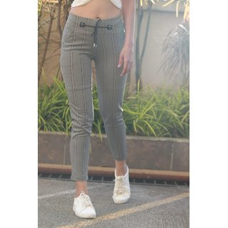 Women's Imported Drawstring Elastic Waist  Grey with Reddish and Black Vertical Lining Plaid  Pants /Casual Bottom Wear