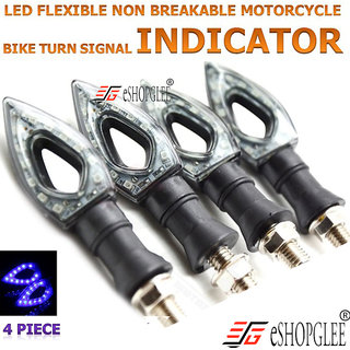 BIKE / MOTORCYCLE  4PC 12V LED LIGHT / INDICATOR LIGHT / HEAD LIGHT  FLEXIBLE TURNING LAMP (BLUE)
