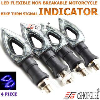 ESHOPGLEE Bike / Motorcycle  4Pc 12V Led Light / Indicator Light / Head Light  Flexible Turning Lamp (Blue)