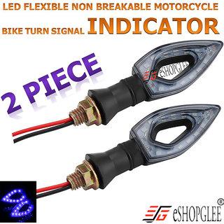 BIKE / MOTORCYCLE  2PC 12V LED LIGHT / INDICATOR LIGHT / HEAD LIGHT  FLEXIBLE TURNING LAMP (BLUE)