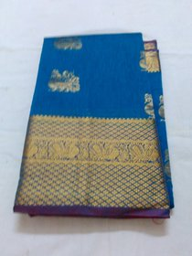 Blue Colour Silk Cotton Saree Grand Pallu Negamum W/B Silk Cotton Full Zari Work Gadwa Saree