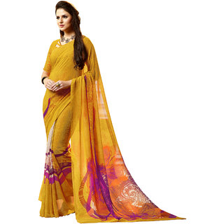 THIYA Yellow Georgette Printed Saree With Blouse(5512A,Free Size)