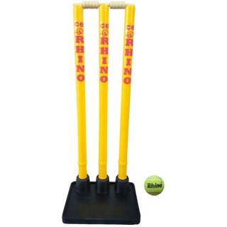 CE Rhino Flexi Cricket Stump Stand with Plastic Stumps and Heavy Rubber Base