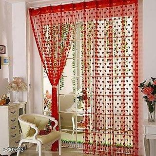 HomeStore-YEP 1 Piece Heart Door Curtains, Size 7 x 4 FT, Color - Maroon