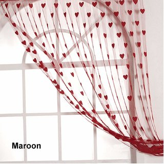 HomeStore-YEP 1 Piece Heart Door Curtains, Size 7 x 4 FT, Color - Maroon