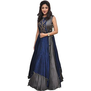 Florence Women's Grey Bangalore Silk Anarkali Gown