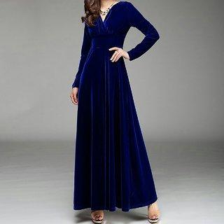 WC-071 Westchic ROYAL BLUE VELVET V-NECK Long Dress