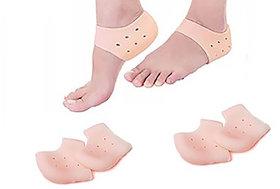 Lucky Traders (2Pair) Crack Heel Support Gel Flat Foot Support Silicon Cushion Heel Pad Moisturizing Silicone Gel Heel Socks