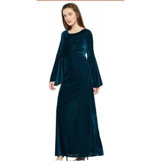 WC-072 Westchic GREEN VELVET Long Dress