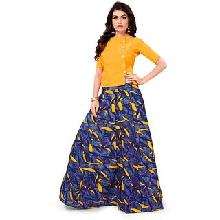 Florence Orange And Yellow Satin Printed Lehenga Choli