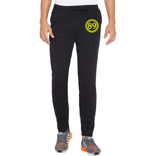 Cliths Mens Black Printed Polyester Sporty Active Track Pant Gym Wear