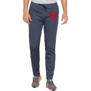Cliths Mens Printed Navy Blue Dri Fit Trackpants for Yoga Gym and Active Sports Fitness