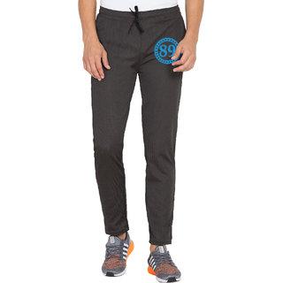 Cliths Mens Black Polyester Slim Fit Designer Printed Track Pant Gym Wear