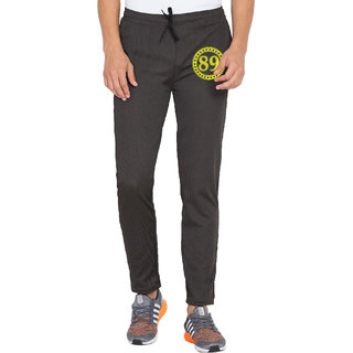 Cliths Mens Printed Black Dri Fit Tights Trackpants for Yoga Gym and Active Sports Fitness