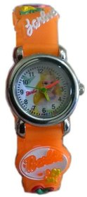 Barbie orange colour girls kids watch